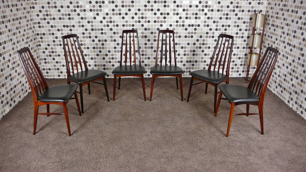 6 chaises scandinave eva en palissandre de rio n koefoeds for 6 chaises scandinaves