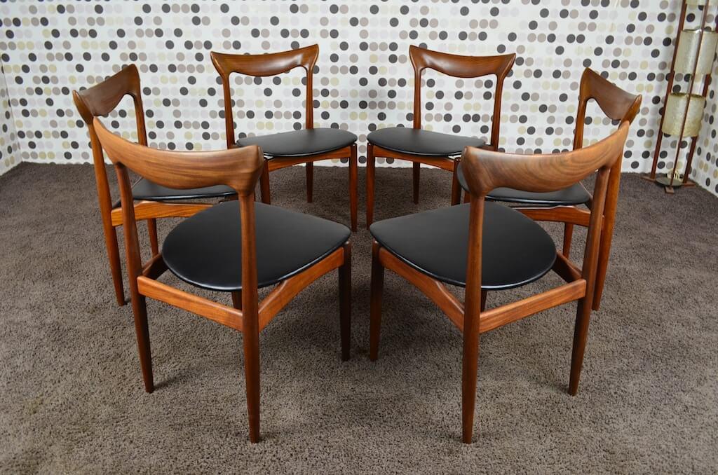 6 chaises scandinave henry walter klein vintage ann es 60 - Chaises scandinaves vintage ...