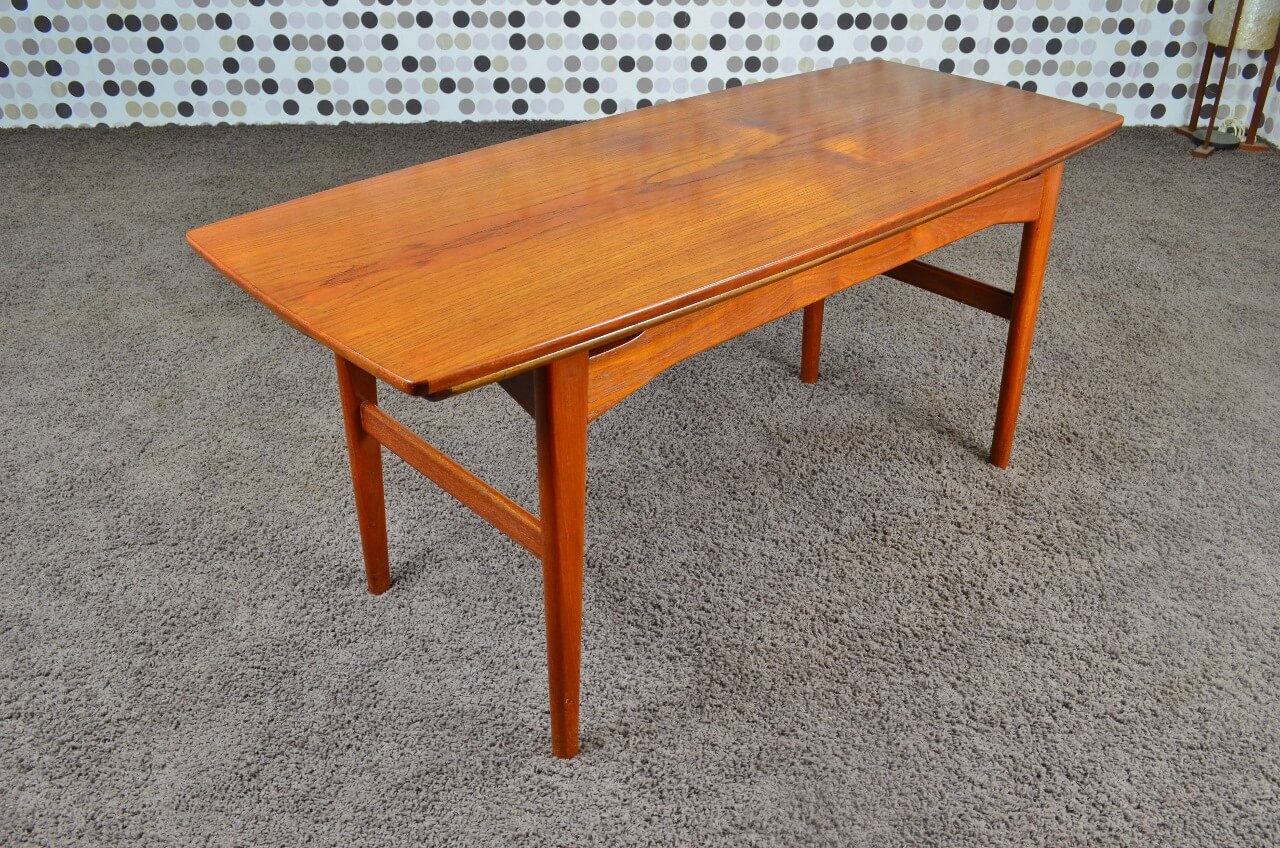 Table transformable danoise en teck niels bach vintage 1965 for Table basse danoise