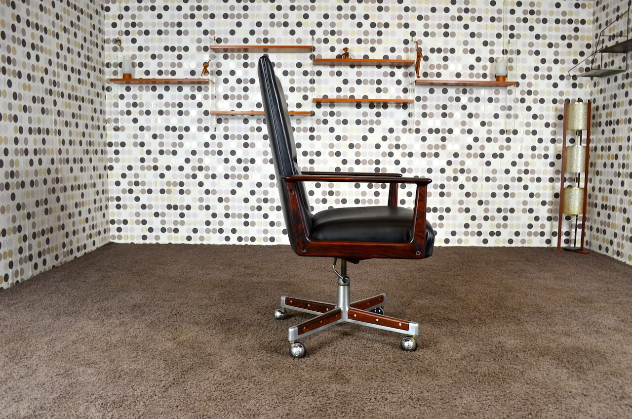 fauteuil de bureau scandinave en palissandre de rio arne vodder vintage 1960. Black Bedroom Furniture Sets. Home Design Ideas