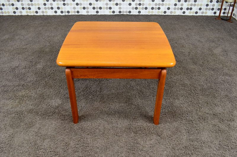 Table basse carr e scandinave en teck massif vintage 1965 designvintageaven - Table carree scandinave ...