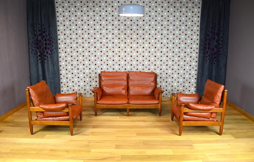 salon cuir design scandinave banquette 2 fauteuils vintage 1960. Black Bedroom Furniture Sets. Home Design Ideas