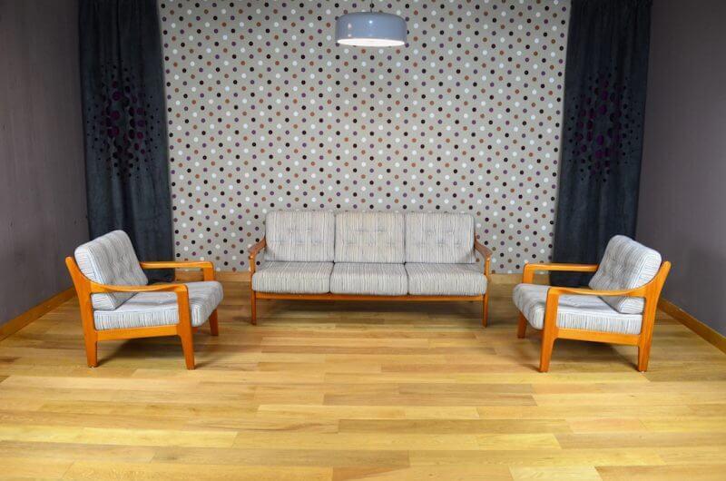 Salon scandinave banquette et 2 fauteuils vintage 1960 ...
