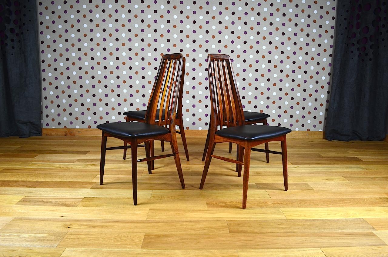 4 chaises danoise en palissandre de rio koefoeds vintage 1965. Black Bedroom Furniture Sets. Home Design Ideas
