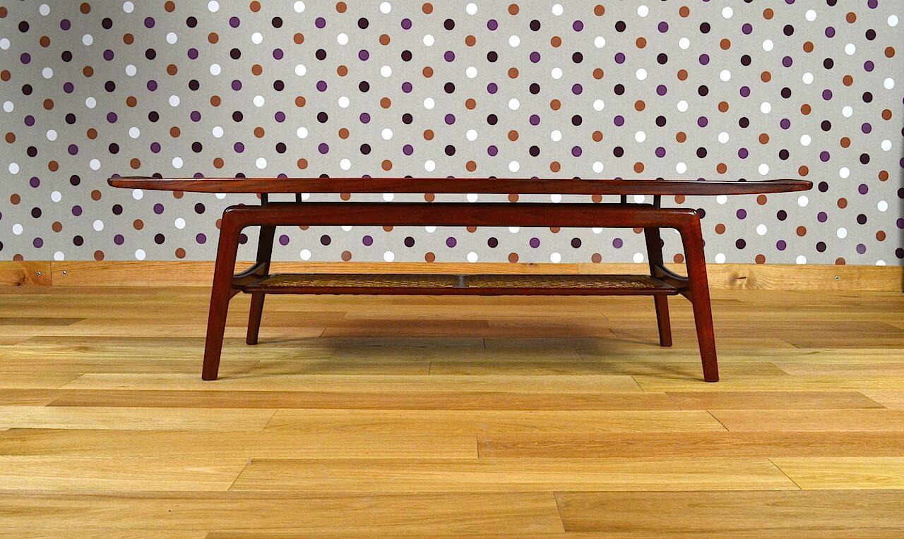Table basse scandinave teck a hovmand olsen vintage 1960 for Table basse scandinave ebay