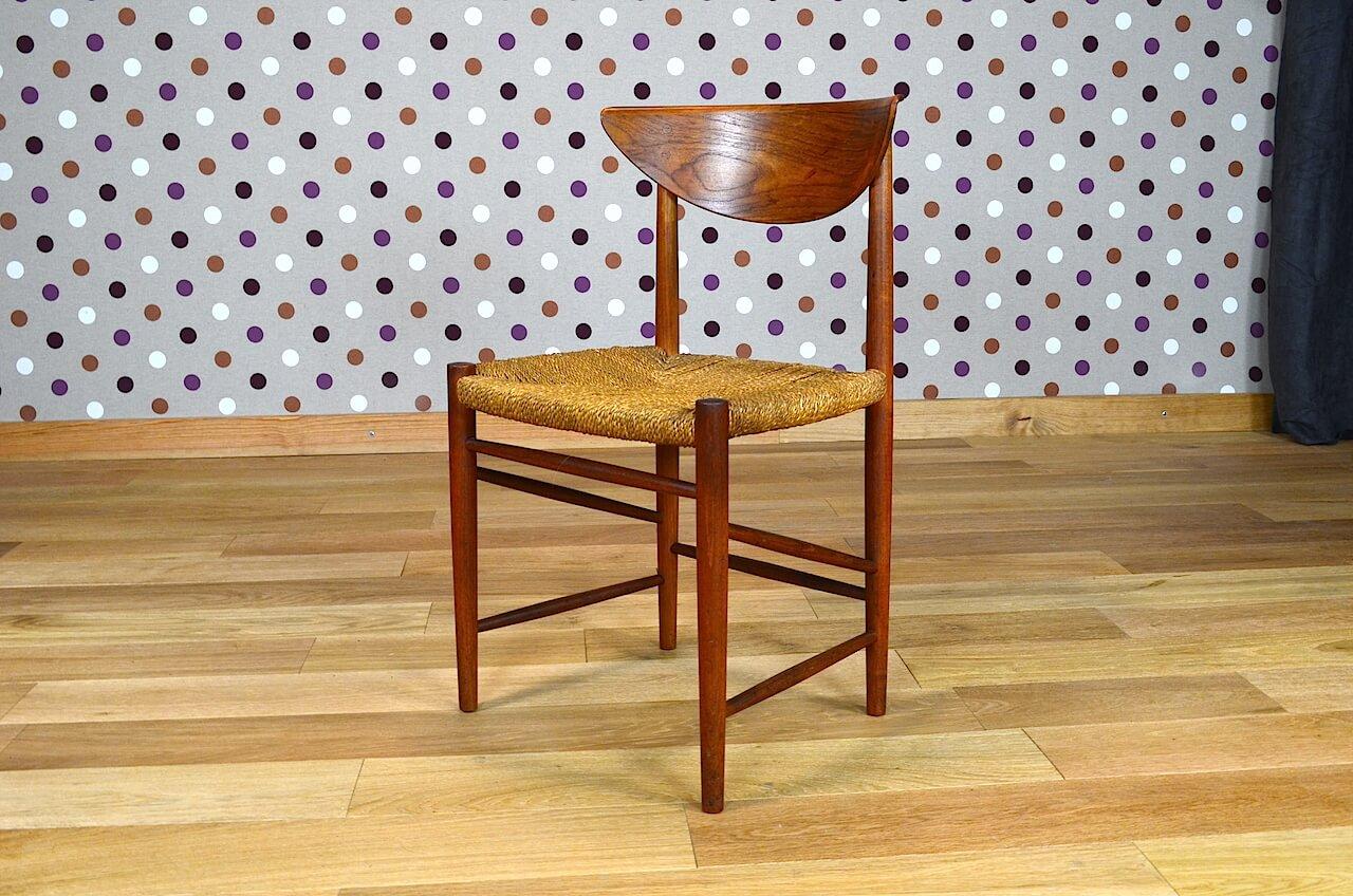 4 chaises danoise en teck peter hvidt vintage 1955 design vintage avenue. Black Bedroom Furniture Sets. Home Design Ideas