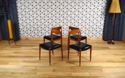 4 Chaises Design Scandinave en Teck Vintage 1965 - A1406