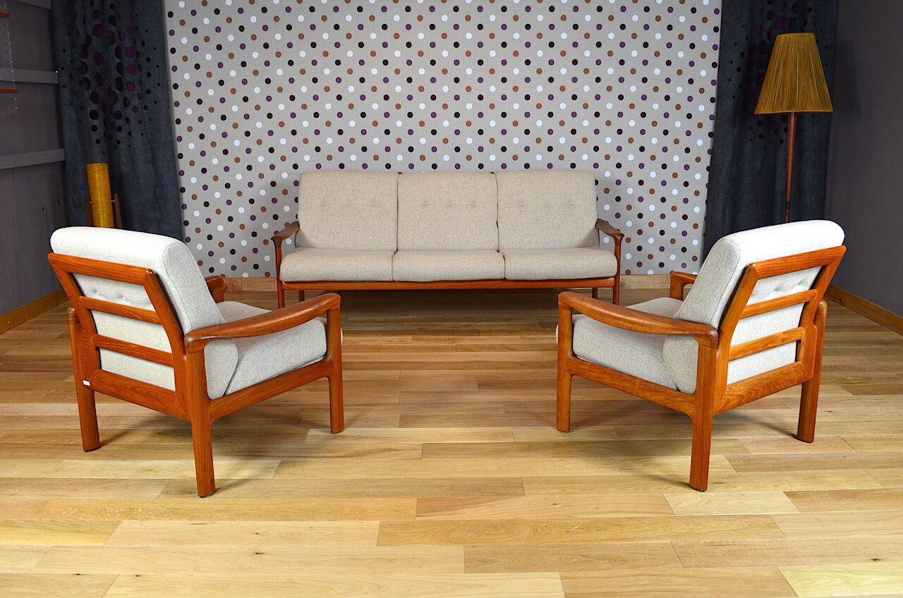 Salon Design Scandinave En Teck Sven Ellekaer Vintage 1960