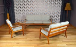 Salon Design Scandinave en Teck Ole Wanscher Vintage 1960 - Vendu