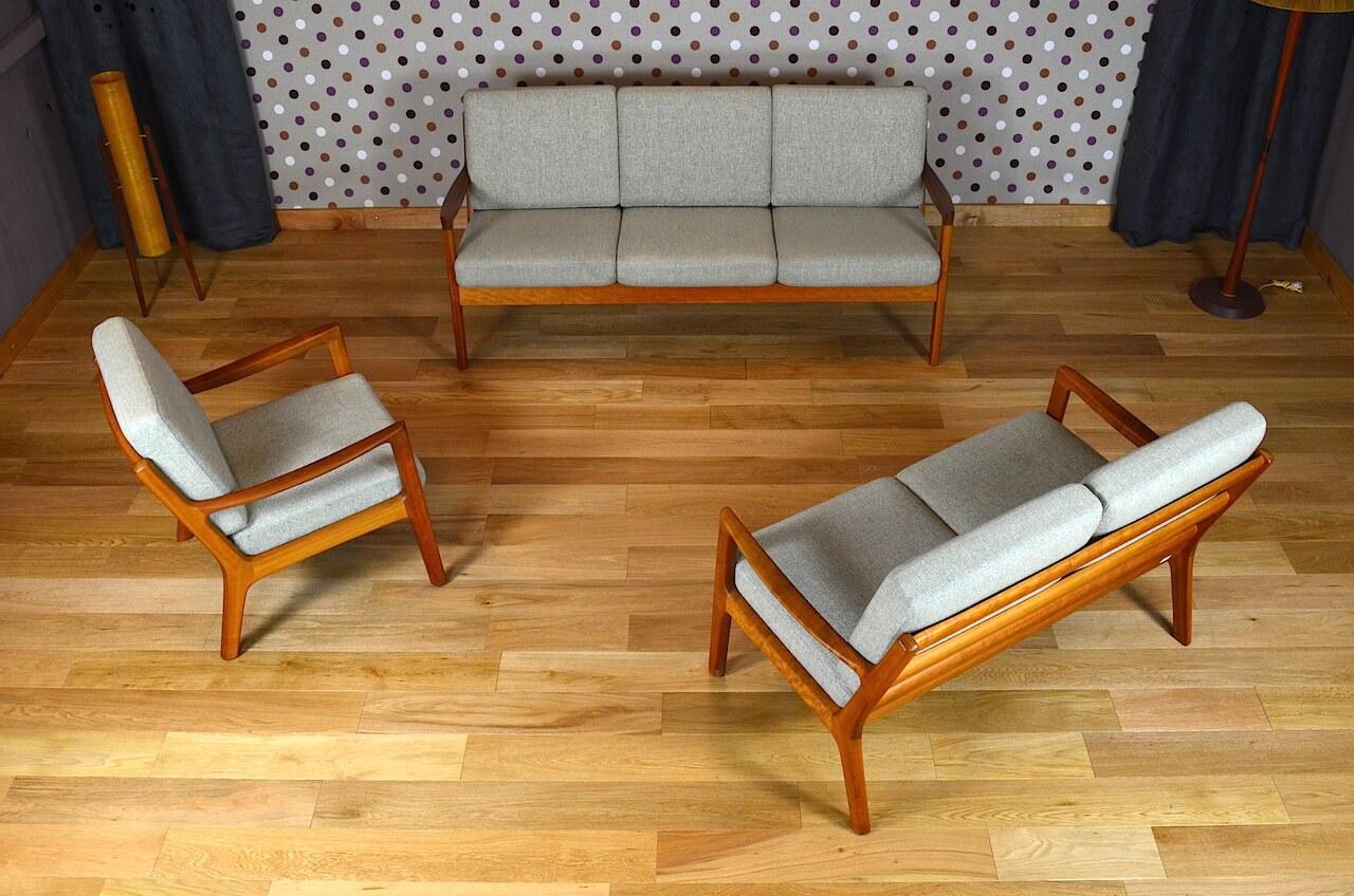 salon design scandinave en teck ole wanscher vintage 1960 - Salon Scandinave Vintage