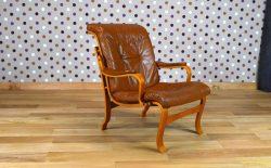 Fauteuil Design Scandinave en Bois blond & Cuir Vintage 1960 - A1488