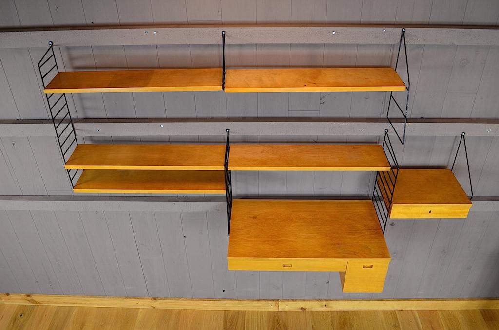 ensemble bureau suspendu etag res string vintage 1950. Black Bedroom Furniture Sets. Home Design Ideas