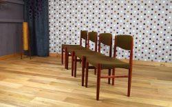 4 Chaises Design Scandinave en Teck Glostrup Vintage 1960 - A1606