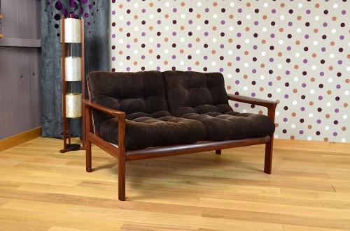 banquette 2 places design scandinave en teck vintage 1960 designvintage avenue ebay. Black Bedroom Furniture Sets. Home Design Ideas