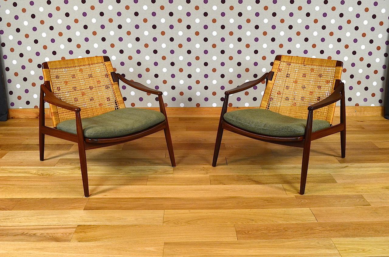 Paire de fauteuils design scandinave en teck h lohmeyer vintage 1956 desig - Mobilier scandinave design ...