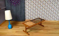 Table Basse Design Scandinave en Teck & Verre Vintage 1960 - A1547