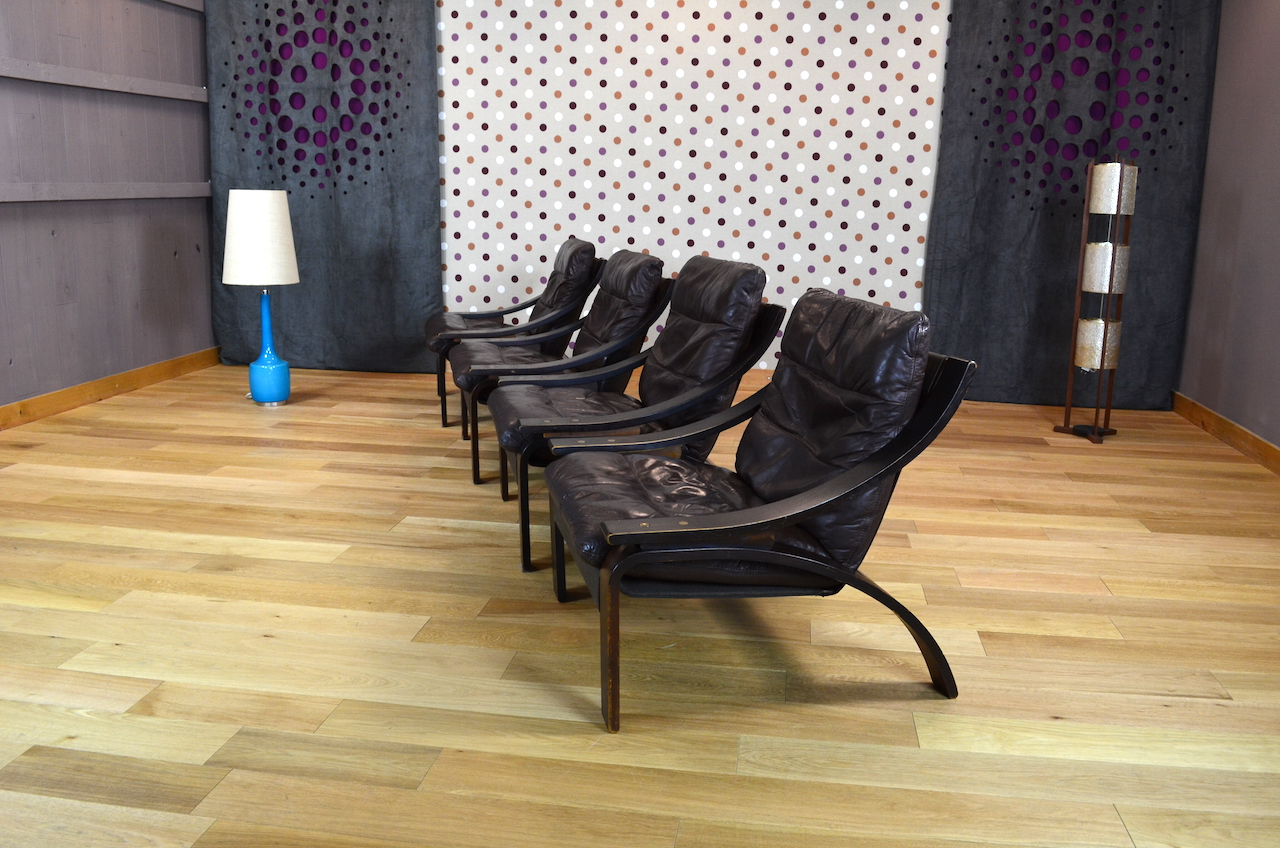 fauteuil relax design scandinave en cuir vintage 1960 1970. Black Bedroom Furniture Sets. Home Design Ideas