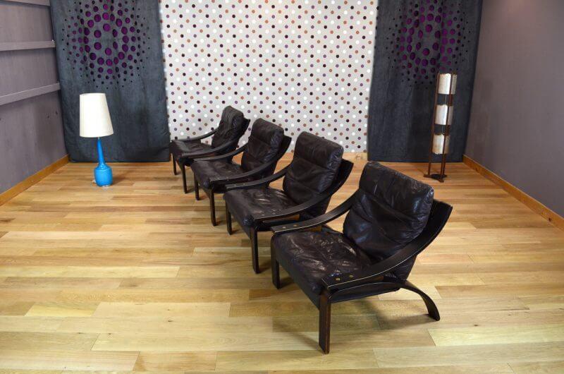 Fauteuil Relax Design Scandinave En Cuir Vintage 1960 1970 Design Vintage Avenue