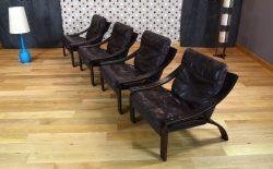 Fauteuil Relax Design Scandinave en Cuir Vintage 1960 1970 - 13/0523-13/0524-13/0525-13/0526