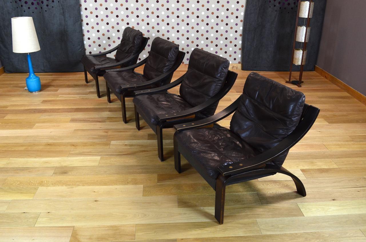 fauteuil relax design scandinave en cuir vintage 1960 1970 designvintageave. Black Bedroom Furniture Sets. Home Design Ideas