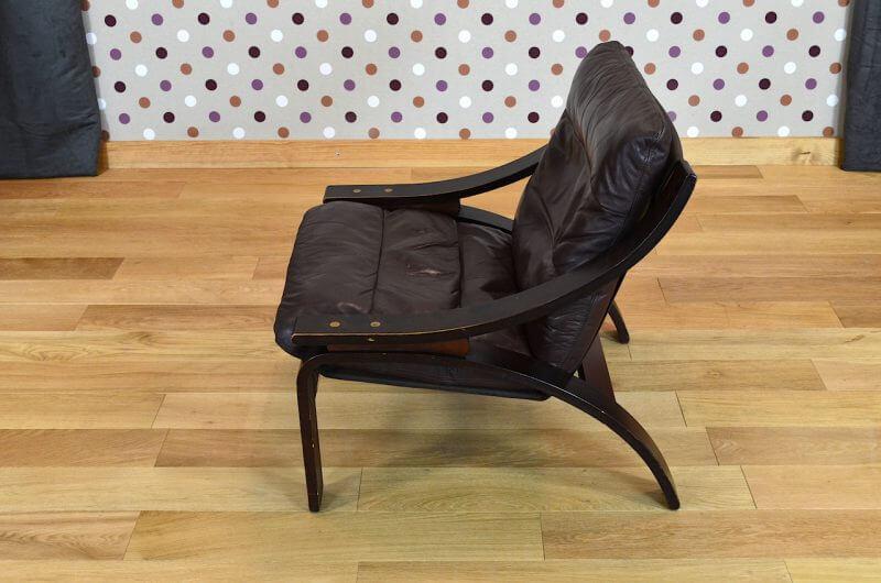 fauteuil relax design scandinave en cuir vintage 1960 1970 design vintage avenue. Black Bedroom Furniture Sets. Home Design Ideas