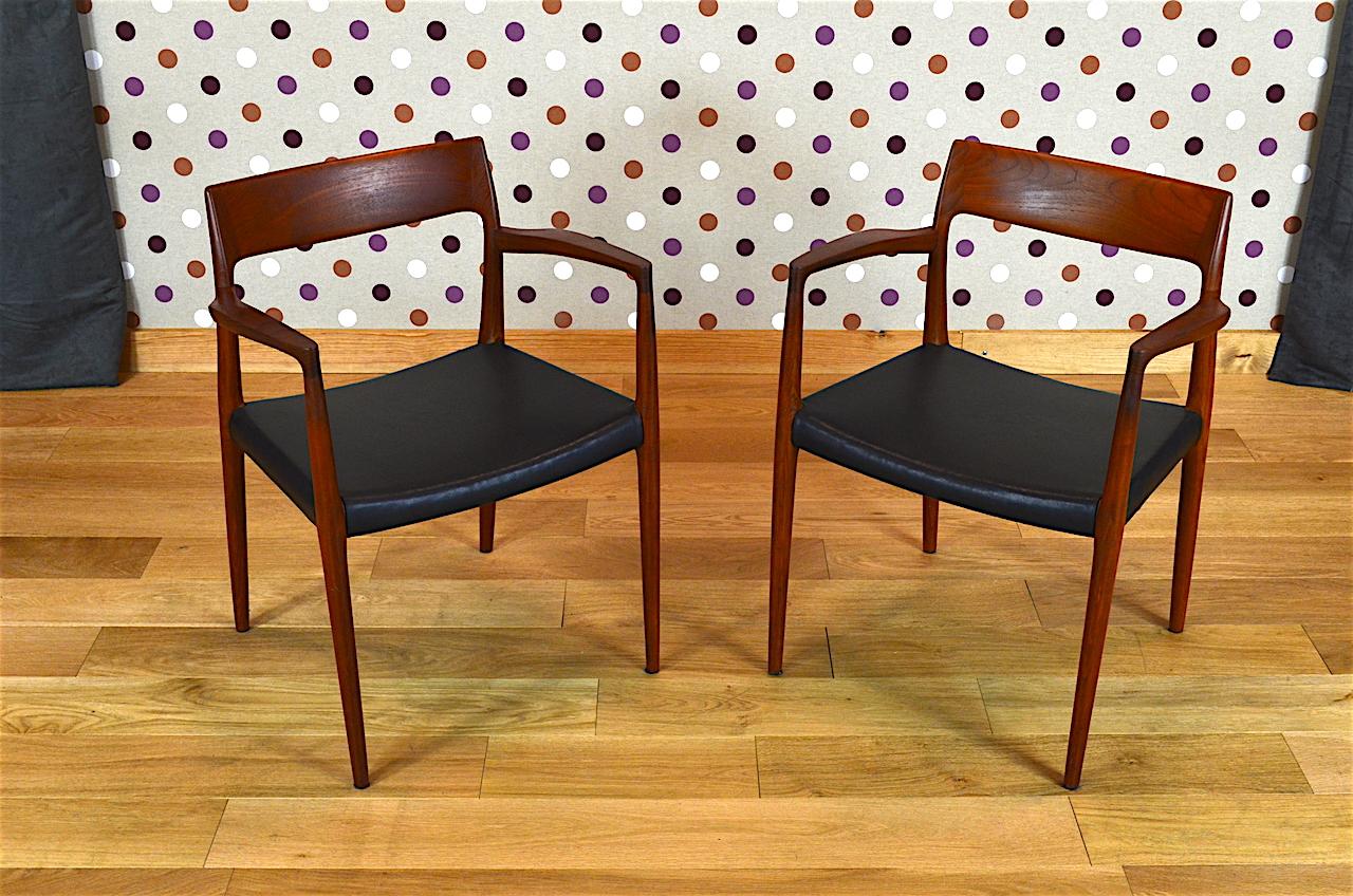 Paire de fauteuils scandinave n 57 en teck niels o moller vintage 1959 desi - Boutique design scandinave meubles ...