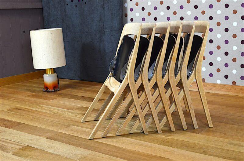6 chaises pliantes design scandinave carl johan boman vintage 1962 design vintage avenue. Black Bedroom Furniture Sets. Home Design Ideas