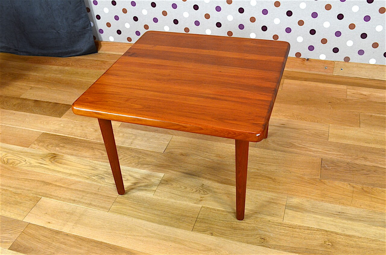 Table basse carr e design scandinave en teck vintage 1965 for Table basse scandinave carree