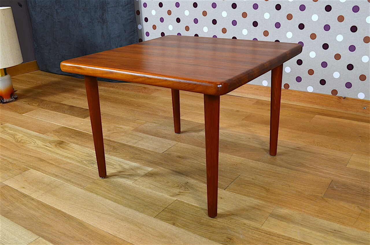 Table basse carr e design scandinave en teck vintage 1965 for Table scandinave carree