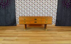 Commode Basse Design Scandinave en Bois Blond Vintage 1969 - A2015