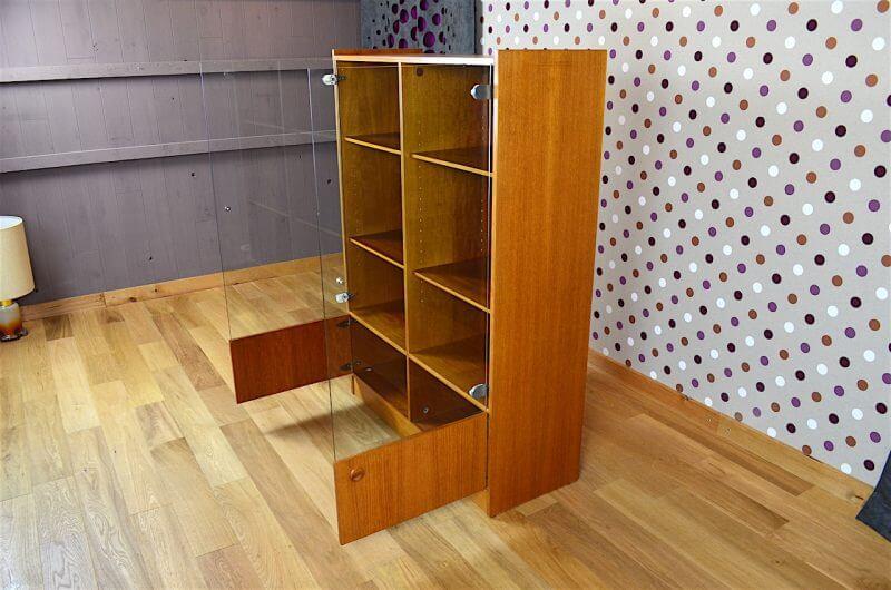 biblioth que vitrine design scandinave en teck vintage 1960. Black Bedroom Furniture Sets. Home Design Ideas