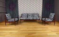 Salon Design Scandinave en Acajou Vintage 1960 - A1938