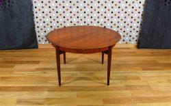 Table Ronde Design Scandinave en Teck Lubke Vintage 1960 - A1491