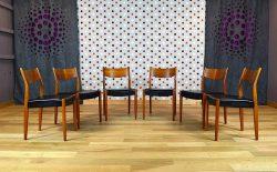 6 Chaises Design Scandinave en Teck Vintage 1968 - A2063