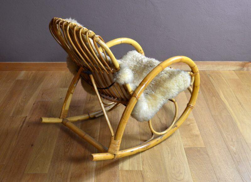 rocking chair en rotin design vintage 1960 design vintage avenue. Black Bedroom Furniture Sets. Home Design Ideas