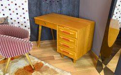 Bureau Design Vintage en Chêne Blond Année 1960 - A1350