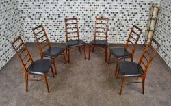 6 Chaises Danoise LIZ en Palissandre de Rio Design de Niels Koefoeds 1965