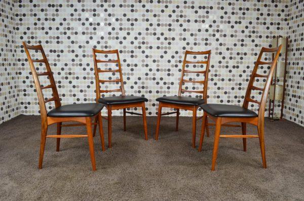 4 Chaises Danoise LIZ en Teck 1965 par Niels Koefoeds