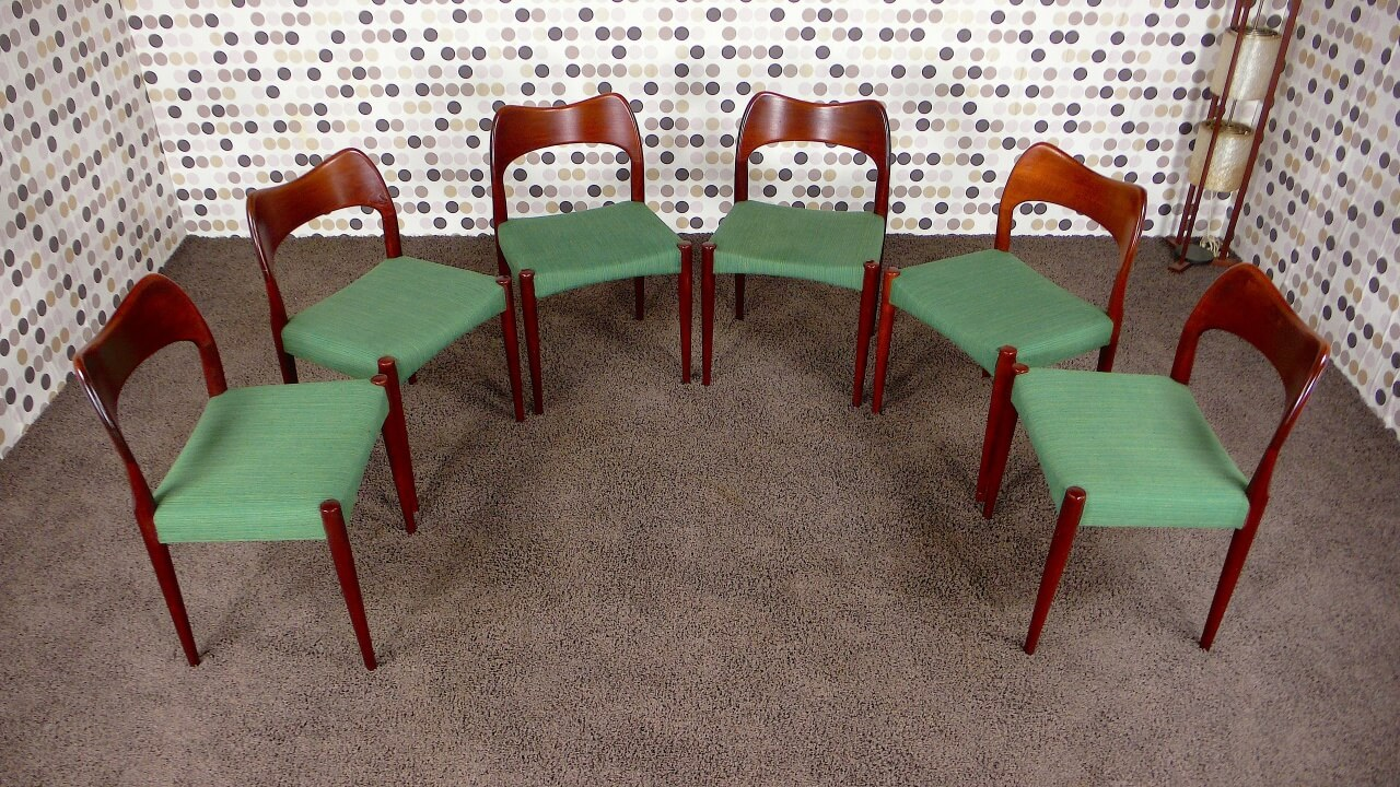6 chaises danoise en teck vintage 1963 arne hovmand olsen. Black Bedroom Furniture Sets. Home Design Ideas