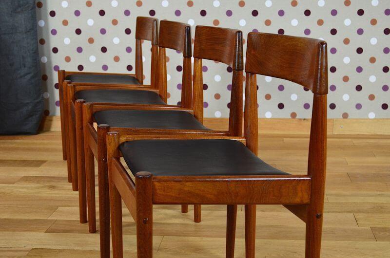 4 chaises danoise en teck grete jalk vintage 1961. Black Bedroom Furniture Sets. Home Design Ideas