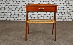 Table d'Appoint en Teck et Cannage Vintage 1965