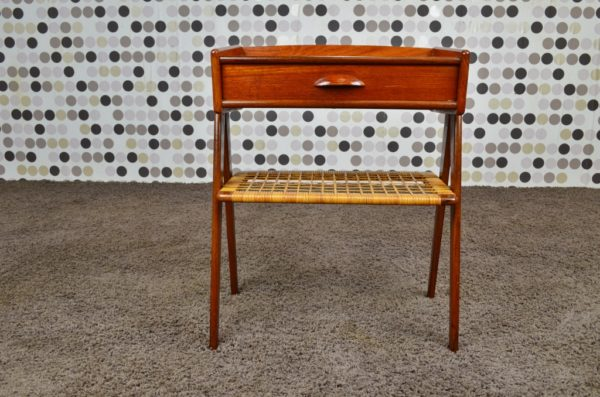 Table d'Appoint en Teck et Cannage Vintage 1965
