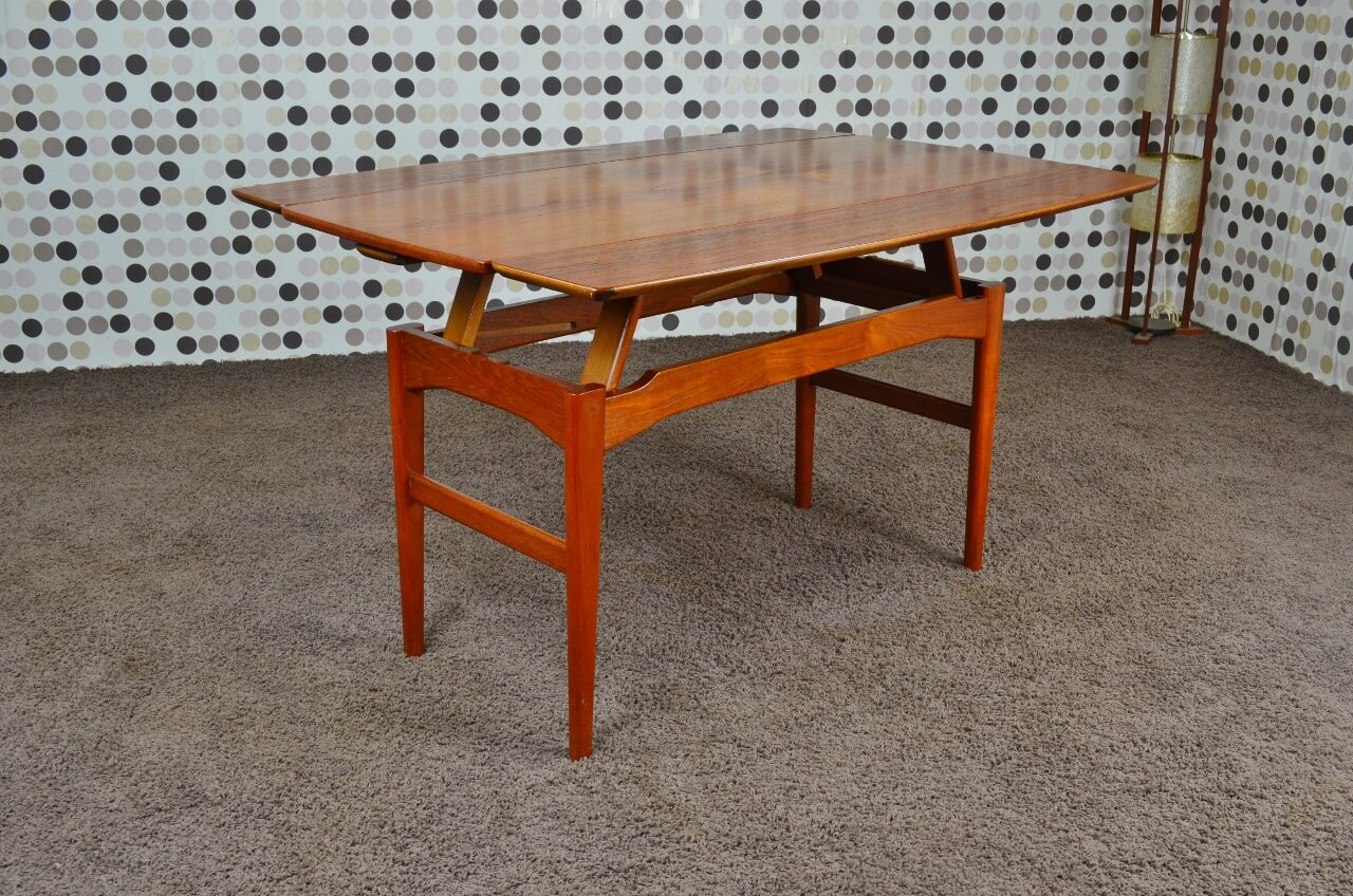 Table transformable danoise en teck niels bach vintage 1965 - Table transformable but ...
