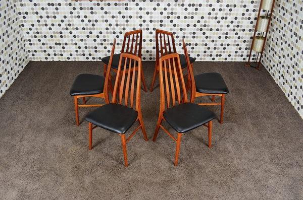 6 Chaises Scandinave EVA en Teck Niels Koefoeds Vintage 1965