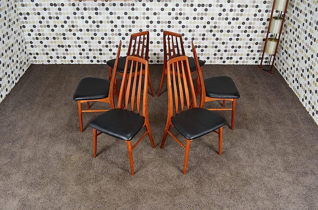 6 chaises scandinave eva en teck niels koefoeds vintage for 6 chaises scandinaves