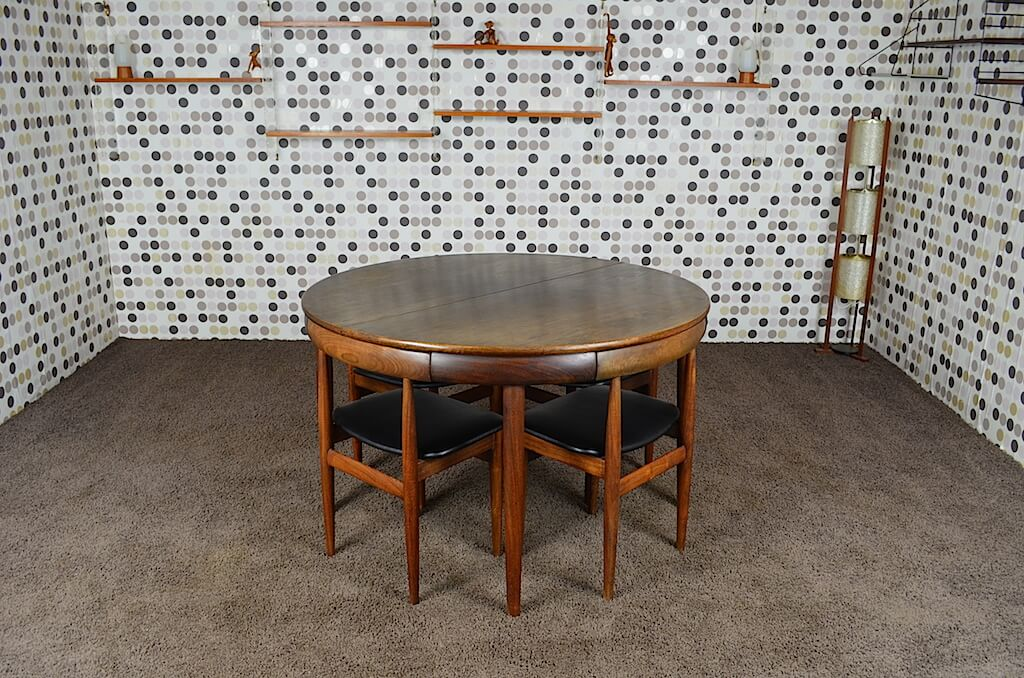 ensemble de repas table chaises scandinave hans olsen vintage 1952 - Ensemble Table Chaise Scandinave
