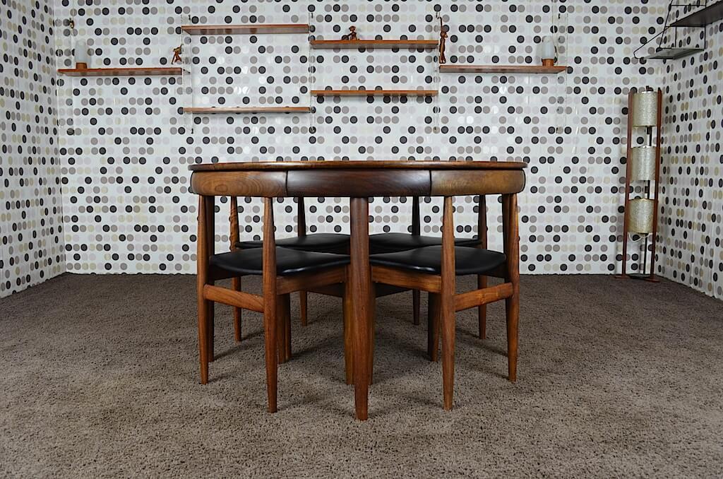 Ensemble de repas table chaises scandinave hans olsen vintage 1952 mobilier vintage scandinave - Ensemble table chaise scandinave ...