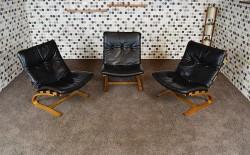 Fauteuil Design Vintage en Cuir Noir