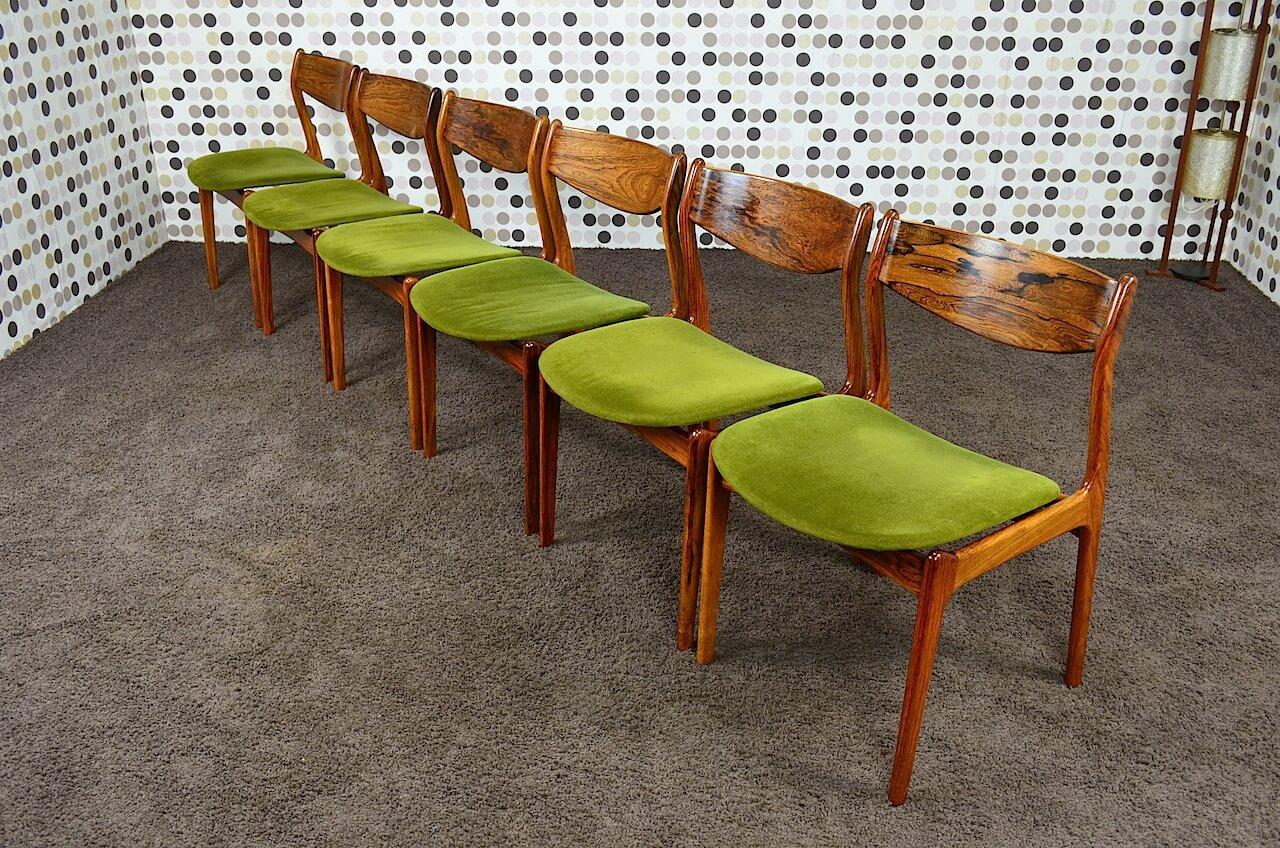 6 chaises danoise en palissandre de rio p e jorgensen vintage 1960. Black Bedroom Furniture Sets. Home Design Ideas