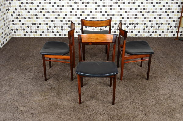 4 Chaises Danoise en Palissandre de Rio & Cuir Vintage 1964